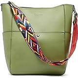 BROMEN Handtasche Damen Leder Schultertasche Umhängetasche Groß Shopper Designer Tasche mit 2 Trageriemen Grün