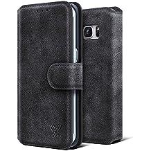 Etui Samsung Galaxy S7 Edge, SAVFY® Housse Pochette en Cuir à rabat portefeuille support intégré pour Samsung Galaxy S7 Edge (Noir)