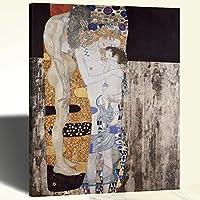 Quadro Canvas Stampa su Tela Klimt Le Tre Età della Donna