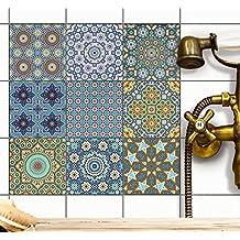 Piastrelle adesive per interni-decori | Pellicola adesiva piastrelle adesivo cucina - piastrelle-bagno pavimenti per interni | 15x15 cm - Motivo Mosaico orientale - Set 9 pezzi