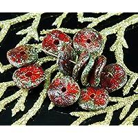 NUOVA FORMA 12pcs Ruvida Picasso Rustico Rosso Grigio Luster Cenno Piatta e Rotonda Disco, Un Foro ceca Perle di Vetro Disco 12mm