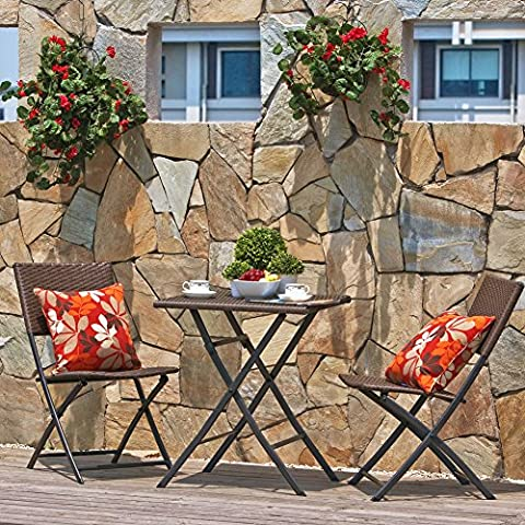 Terraza Balcón Muebles plegable bistro de sets de muebles, madera resina y ratán Jardín Mesa de juego, 3piezas mesa y sillas