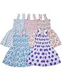Sathiyas Baby Girls Cotton Gathered Dresses (Multicolor) (Pack of 5)