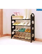 LookNSnap Foldable 4 Layer Shoe Rack, Iron and Plastic, Black