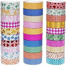 Faburo 30 Rollen Dekorative Glitzer Klebeband Washi Tape Art Craft Klebeband DIY Aufkleber Dekoration