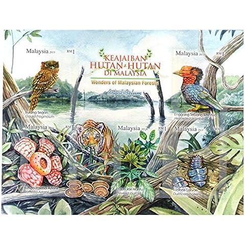 Malasia Maravillas Malasia Bosques Animales flora y fauna hoja bloque sellos adhesivos / Malasia / 2013 / MNH