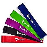 VIA FORTIS Fitnessbanden set - 5-delige set trainingsbanden incl. Duitse handleiding en draagtas - 5x fitnessband, gymnastiek