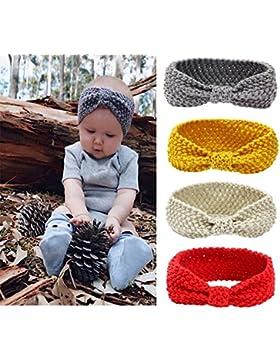 Tukistore 4 Stück Baby Mädchen Gestrickt Stirnband Häkelarbeit Schleife Design Winter Kopfband Haarband Ear wärmer...