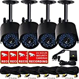 VideoSecu 4 x Outdoor Bullet Security Cameras Day Night 36 Infrared LEDs 520TVL High Resolution IR-Cut Filter Switch CCTV Home Surveillance with Power Supply and Video Power Cables IR808HN WM9
