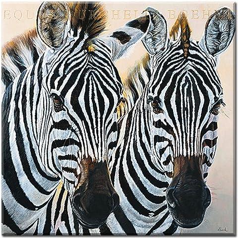 de cebras Gol, de foto de Danielle Beck, impresión digital sobre lienzo impreso, con, impresión, Impresión Artística en lienzo tamaño 90 cm x 90 cm, Wohnen e imágenes, Lifestyle, animales en su color, cebras,