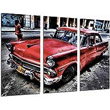 Cuadro Moderno Fotografico Coche Clasico Rojo en Cuba, Vintage, 97 x 62 cm,