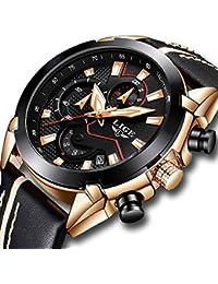 Watches,Men Fashion Casual Dress Black Leather Waterproof Watches Sport Chronograph Watch Gold black Quartz Watch