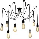 Glighone Lampop Suspension Luminaire Induistrielle Lampe Araignée 8 Bras Réglable Lampe Lustre Rétro Vintage Multi-Lumière Ec