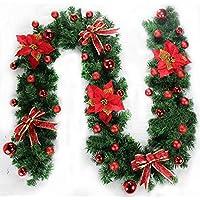 إكليل إنارة لعيد الميلاد - 2.7 أمتار - خيزران لعيد الميلاد - زهور، نباتات معترشة اصطناعية لعيد الميلاد - ديكورات عيد الميلاد الخارجية ، إكليل عيد الميلاد مع أضواء