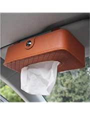 KolorFish PU Leather Car Back Seat Headrest Hanging Tissue Holder with Napkin Cover Case (Brown)