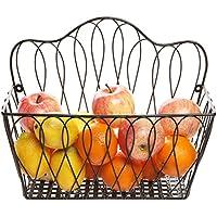 MyGift - Cestino decorativo in metallo, motivo: ad anelli, da parete, per riviste, per la frutta
