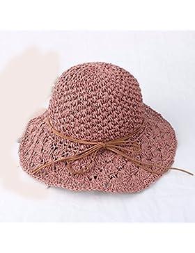 LVLIDAN Sombrero para el sol del verano Lady Anti-Sol Playa sombrero de paja plegable rosa