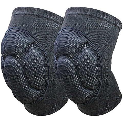 Ueasy fortalecer rodilleras transpirable rodilleras Crashproof antideslizante Pierna Rodilla manga Protector Pad 1Par, color negro, tamaño 15