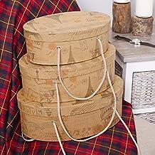Trio de caballeros ovalado cestas de almacenamiento con asas–perfecto como un accesorio decorativo en el dormitorio–mayor L36cm