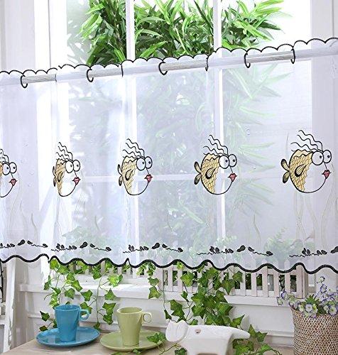 Bathroom Voile Cafe Net Curtain Panels D16 Crazy Fish 24 Kitchen Curtains Buy Online In El Salvador At Elsalvador Desertcart Com Productid 65399679