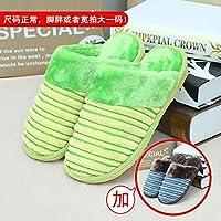 Habuji Home Warme Hausschuhe aus Baumwolle Männer und Frauen Paket mit Trampolin innen rutschfeste Schuhe, männlich weiblich 35/36 + 43/44, grün + blau