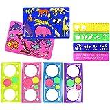 COM de Four® Regla & Plantillas de 10piezas multicolor–con formas de animales,, letras, números y spirographen