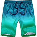 Civilever Men's Swim Trunks, Quick Dry Gradient Color Beach Shorts Watershorts Holiday Casual Sports Wear with Pockets and Ad