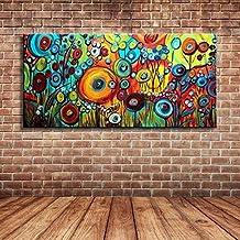 IPLST@ Grande tela moderna di paesaggio di primavera pittura di paesaggio selvaggio fiori Olio su Tela-20x40inch (Nessuna cornice, senza barella) - Cuore Canvas Tote