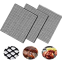 BBQ Grill Mesh Mat Set of 3 - Non Stick Barbecue Sheet Liners Teflon Grilling Mats Nonstick Fish Vegetable Smoking Accessories - Works on Smoker,Pellet,Gas, Charcoal Grill