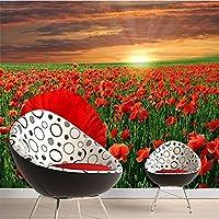 Lqwx Foto Tapiz Personalizado Sofá Suelos 3D Como Telón De Fondo La Amapola Jardín De Flores Gran Mural Mural 3D Papel Tapiz Para Paredes 3 D-250Cmx175Cm