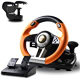 PXN V3 Volante da Corsa da Gioco con Pedale Regolabile , 180 ° USB Universale Volante da Gioco per PC, PS3, PS4, Xbox One, Ni