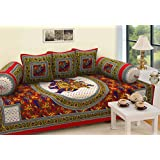RajasthaniKart 6 Piece 144 TC Cotton Deewan Set - Abstract, Red