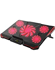 "Cosmic Byte Asteroid Laptop Cooling Pad, Adjustable Height, 5 Fan Design, LED Light, USB Ports, Support Upto 17"" laptops (Red)"