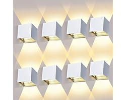ledmo 8 Pièces Applique Murale LED Exterieur 12W Appliques Murales Interieur 3000K Blanc Chaud Design Etanche IP65