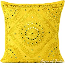 Eyes of India - Amarillo Espejo Bordado Decorativo Manta Funda de cojín Boho Bohemio India -