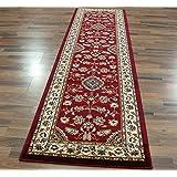 eRugs - Alfombra clásica oriental con diseño floral 60 x 230 cm, color rojo