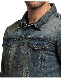 BLZ jeans - Veste en jean bleu vieillit délavé