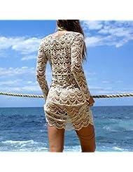 Dooxi Mujer Verano de Manga Larga de Vestidos Ganchillo Playa De Bikini Cover Up Trajes De Baño Túnica