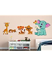 Orange And Orchid Animal Cartoon Wall Sticker For Baby Room( Pvc Vinyl, 130 Cm X 45 Cm)