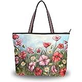 JSTEL Große Damen-Handtasche mit Henkel, Vintage-Stil, Mohnblumen-Muster, L