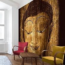 Apalis Vliestapete Smiling Buddha Fototapete Quadrat | Vlies Tapete Wandtapete Wandbild Foto 3D Fototapete für Schlafzimmer Wohnzimmer Küche | Größe: 288x288 cm, braun, 95461