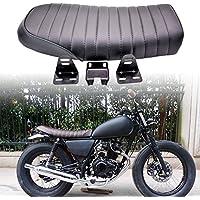 Katur Moto universel Plat vintage Coussin d'assise Selle pour Honda Cb125s Cb550CL350450CB CL rétro Cafe Racer Noir