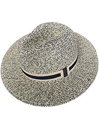 7af9b4294a9bd9 RIONA Women Wide Brim Straw Panama Roll up Hat Fedora Beach Floppy Sun Hat  Summer UPF50+