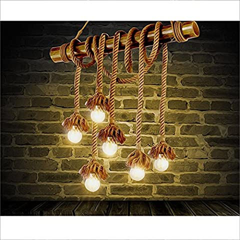 BJVB Canapa retrò corda lampadario soffitto creativo Lampadari Lampadario 5light di legno