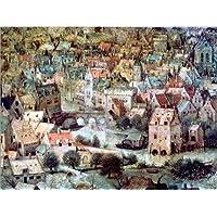 Stampa su tela 90 x 70 cm: Tower of Babel. Detail: Housing. di Pieter Brueghel d.Ä. / ARTOTHEK - poster pronti, foto su telaio, foto su vera tela, stampa su tela