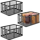 mDesign panier en métal polyvalent (lot de 3) – panier de rangement pour cuisine, garde-manger, salle de bain, etc. – corbeil