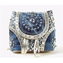 Las mujeres del doble bolso de cuero pu moda bolso doble bolsa tejida tipo cadena bolsa con flecos de elevación, 21*21*16cm,A