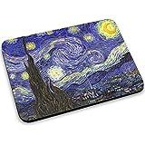 Van Gogh - Starry Night, Designer Alfombrilla de Ratón Mouse Mouse Pad con Diseño Colorido. Tamaño 250 x 190 mm.