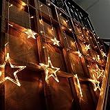 Amzdeal Guirnalda de luces con forma de estrella 138pcs LED con el enfuche EU Decoración de la Iluminación para Party, Boda, Navidad Blanco cálido