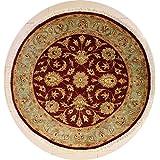 188x188 alfombra chobi ziegler hecha con tintes vegetales con tejido grueso lana - diseño ziegler chobi | alfombra 100% genuina tejida a mano, en colores granate, azul verdoso , beige | alfombra redonda de doble nudo 183 x 183